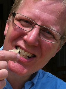 Mark's first taste of honey from his farm