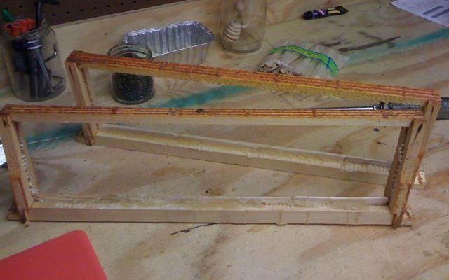 popsicle sticks on foundationless frames